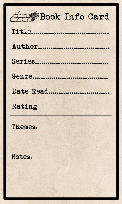 Book Info Card Elaine Howlin Literary Blog Printable