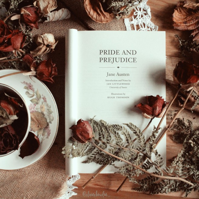 Pride and Prejudice by Jane Austen title page flatlay elaine howlin bookstagram