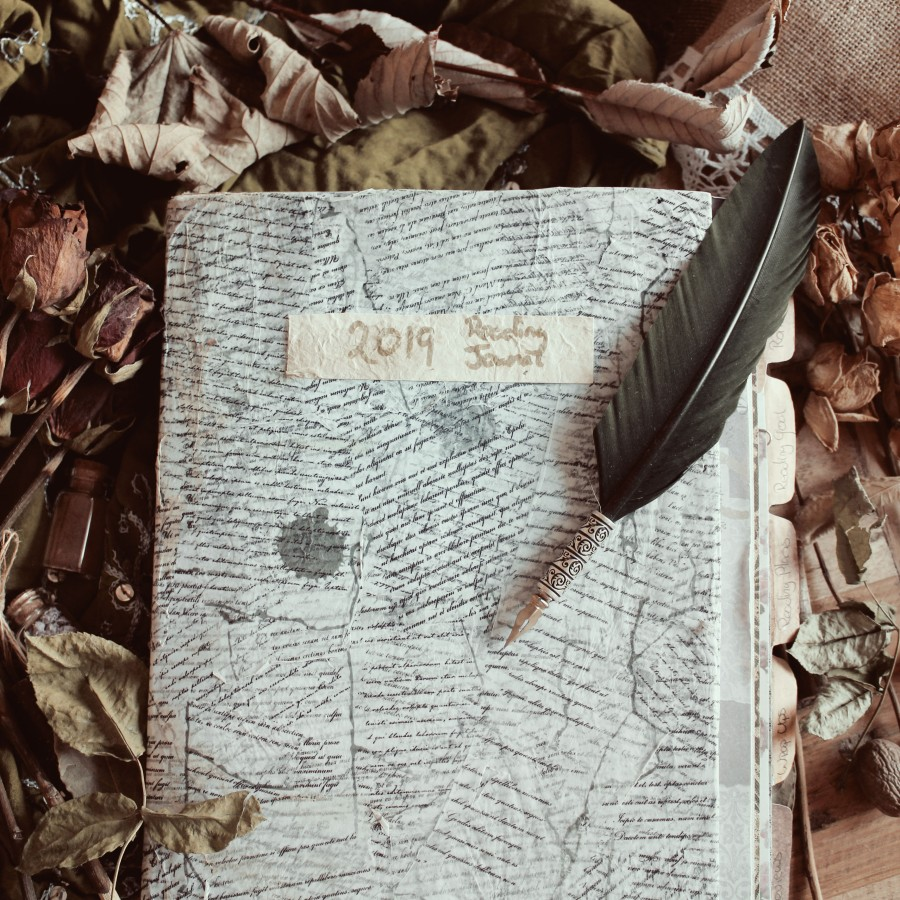 Reading Journal 2019 with Feather Quill Pen Flatlay ELaine Howlin