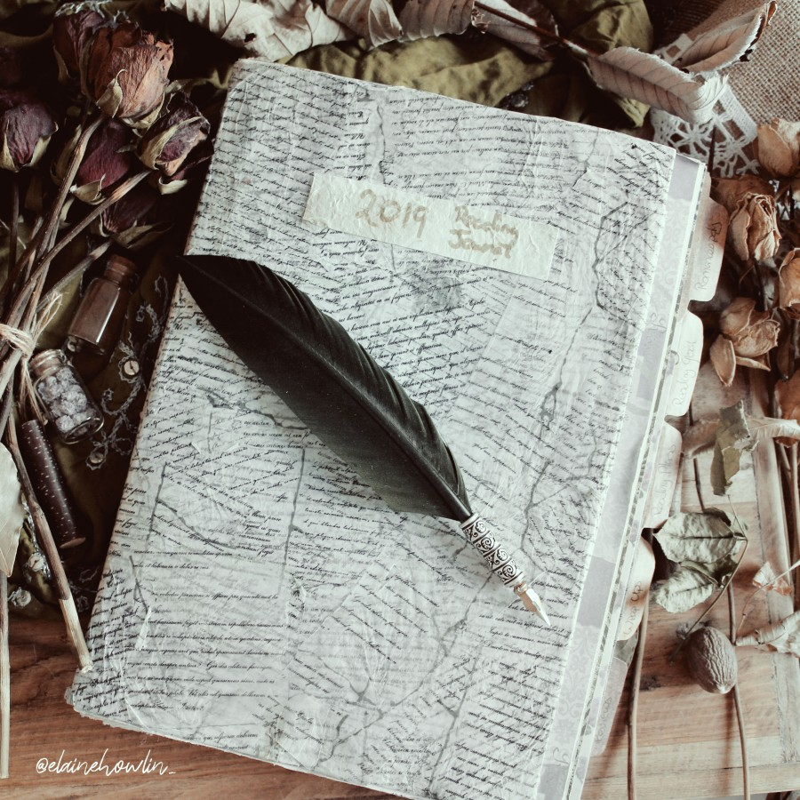 Reading Journal 2019 with Feather Quill Pen Flatlay