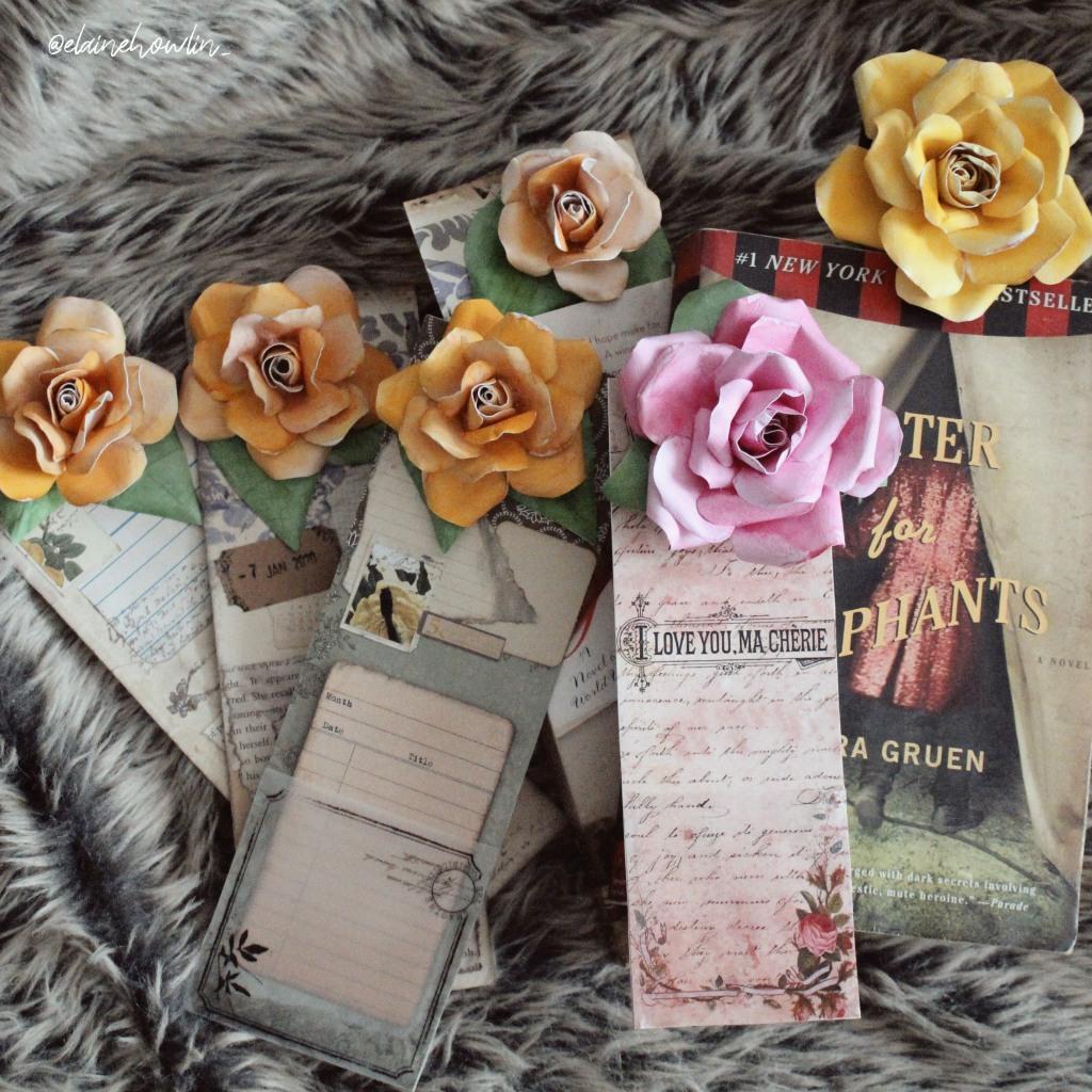 Flower Bookmarks Junk Journal Vintage Printable Template Elaine Howlin