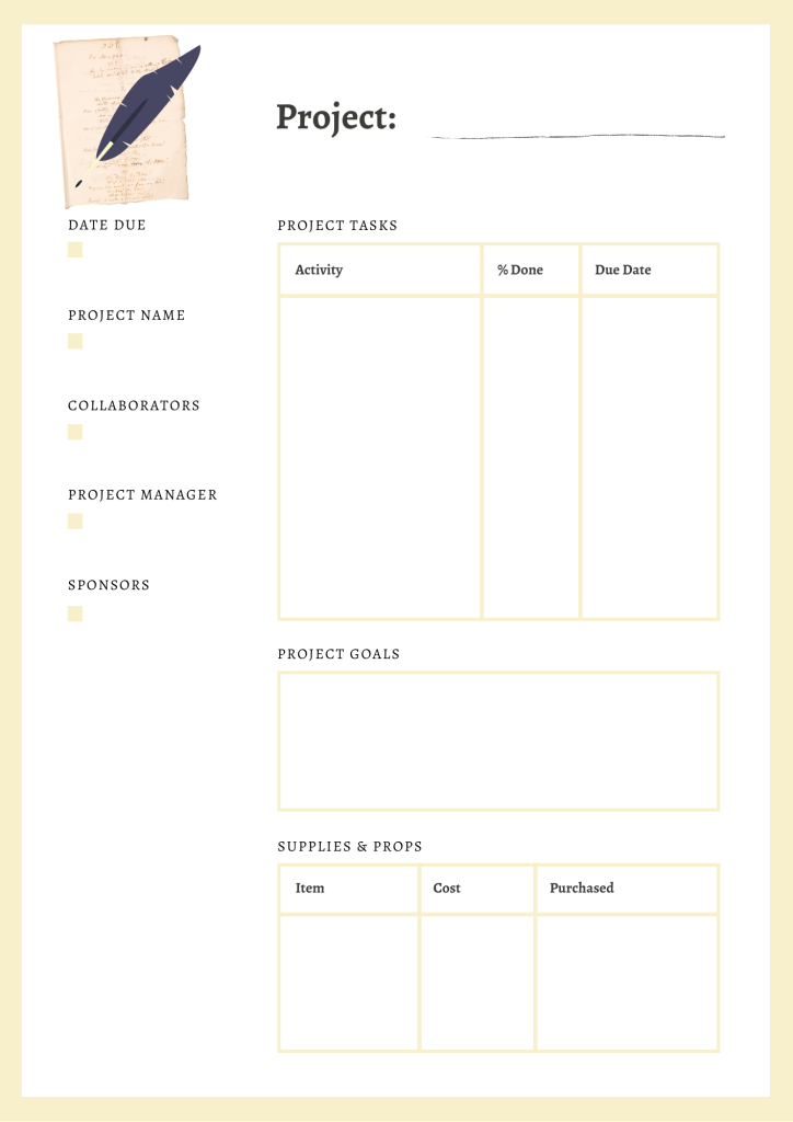 content project planning page