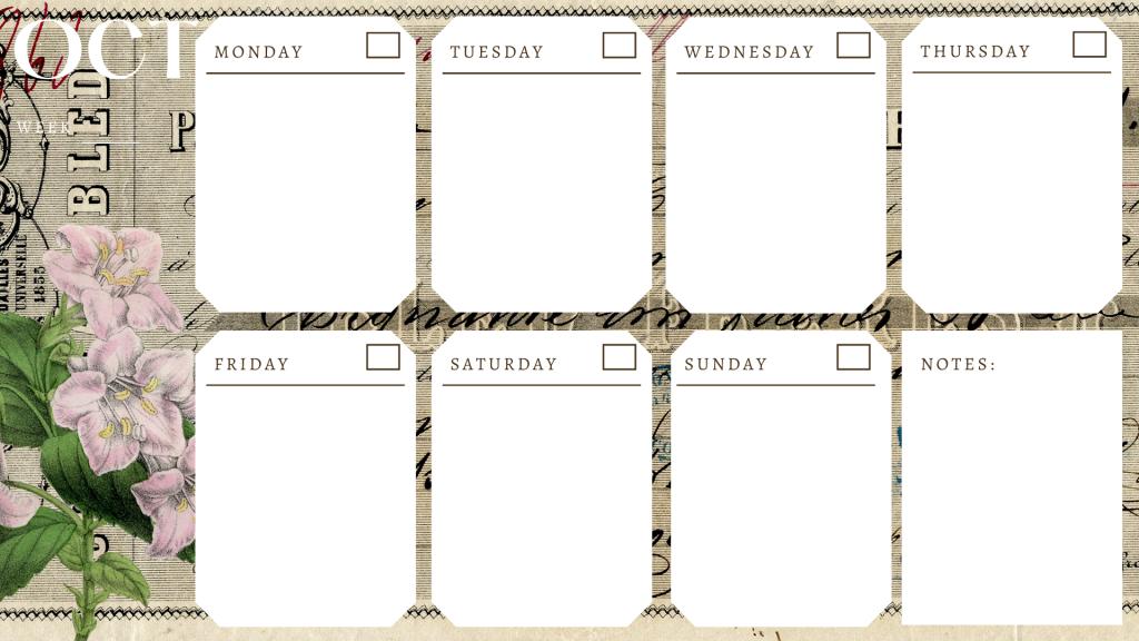 October Weekly Planning Calendar