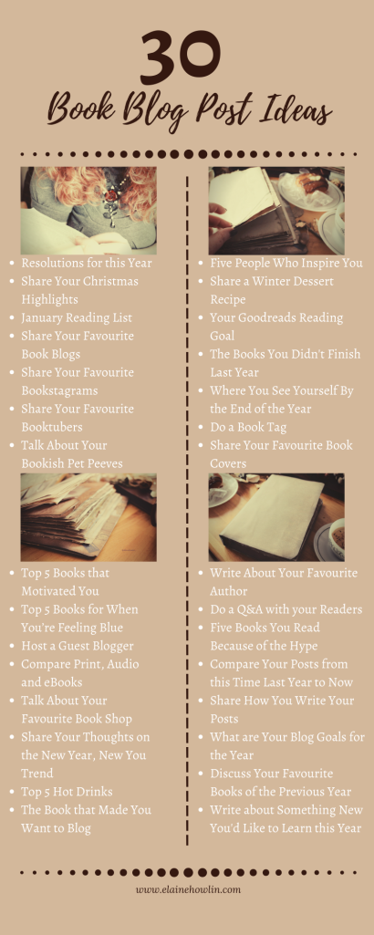 30 Book Blog Post Ideas for January Infographic Elaine Howlin