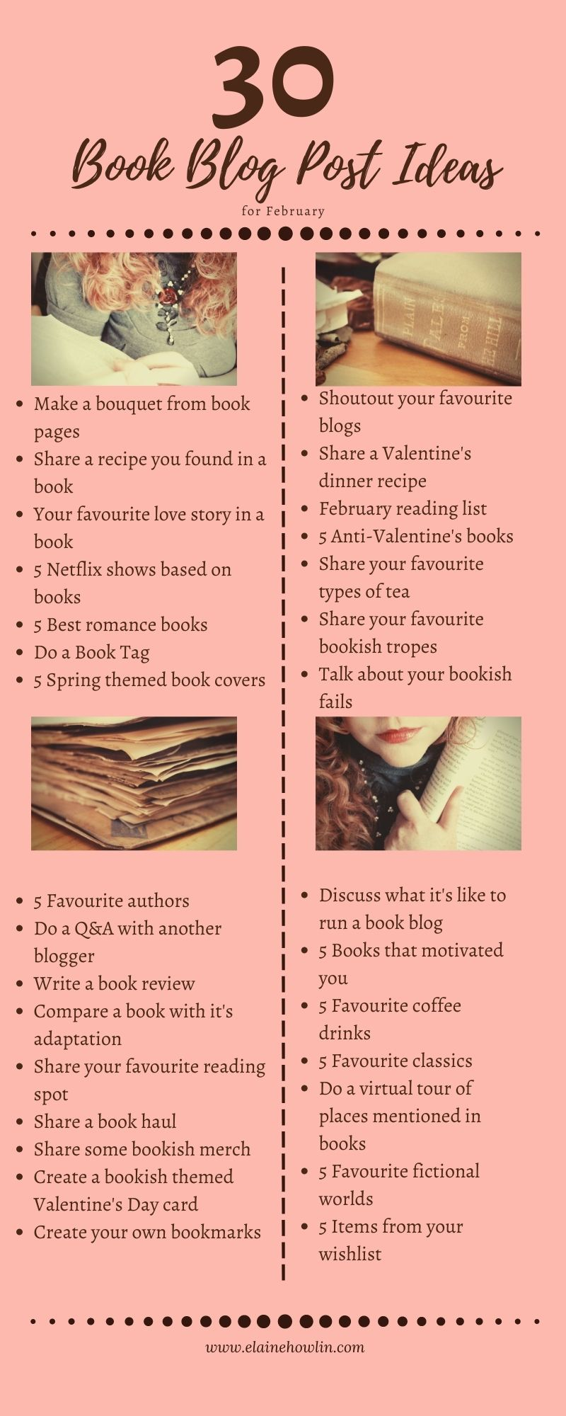 30 Book Blog Post Ideas February Infographic Elaine Howlin