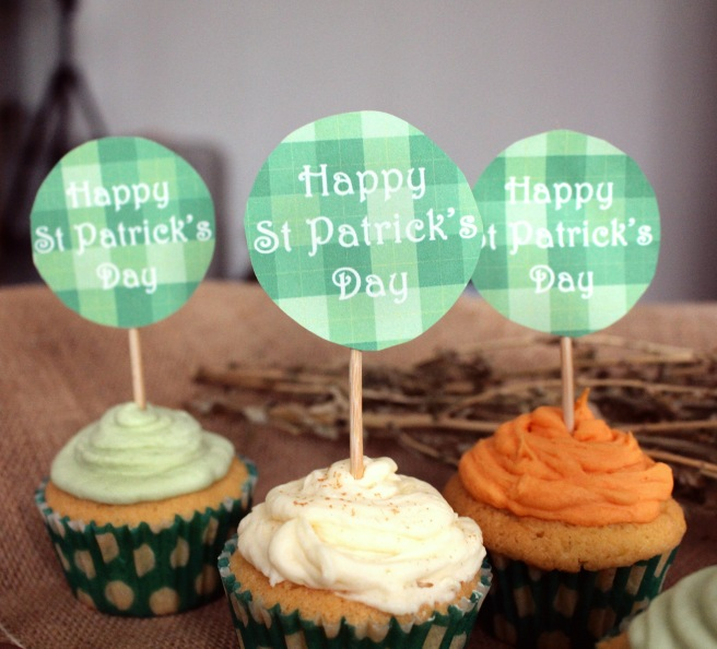 happy st patrick's day cupcake toppers on tri-colour buttercream frosting cupcakes