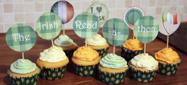 the irish readathon cupcake toppers and tri-colour buttercream frosting