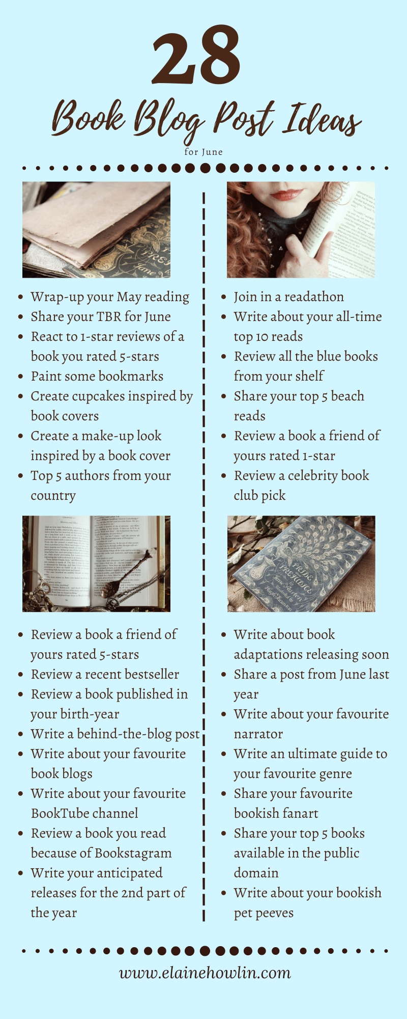 28 Book Blog Post Ideas for June Infographic Elaine Howlin